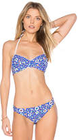 Shoshanna Mosaic Floral Bikini Top in Blue. - size A (also in B)