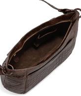 Nancy Gonzalez Crocodile Crossbody Zip-Top Bag, Brown
