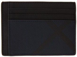 Burberry Black and Navy London Check Money Clip Card Holder