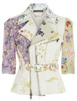 Alexander McQueen Floral Embroidered Cropped Leather Jacket