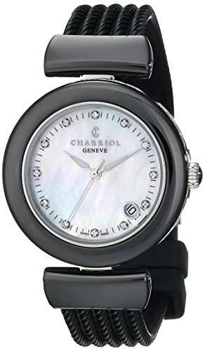 Charriol AEL Ladies Black Ceramic Diamond Watch AE33CB.173.003