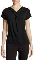 Liz Claiborne Short-Sleeve Criss Cross Twist Extended-Shoulder Top - Petite