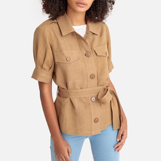 La Redoute Collections Linen-Mix Utility Jacket with Tie-Waist and Short Sleeves