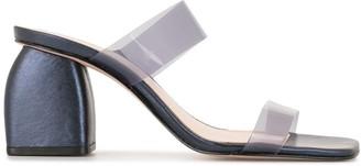 Schutz Block Heel Metallic Mules