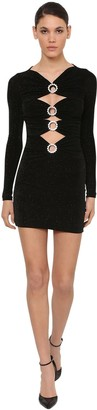 Azzaro VELVET MINI DRESS W/ CRYSTAL DETAIL