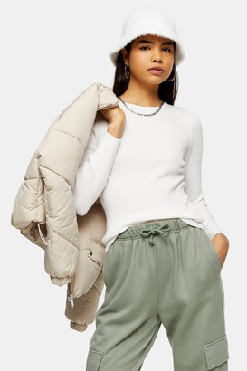 Topshop Ivory Knitted Crew Neck Sweater