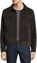Salvatore Ferragamo Calfskin Suede Trucker Jacket, Brown