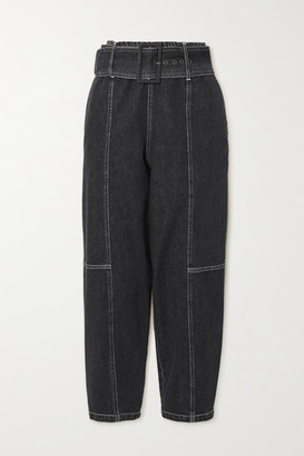 See by Chloe Paneled High-rise Tapered Jeans - Black