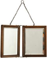 Rejuvenation Lovely Little Oak Framed Traveling Mirror c1910