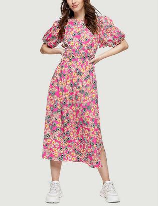 Topshop Daisy-print puff-sleeve woven midi dress