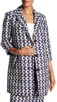 Trina Turk Notch Lapel Front Button Printed Coat