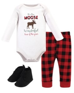 Hudson Baby Baby Girls and Boys Moose Wonderful Time Bodysuit, Pant and Shoe Set, Pack of 3