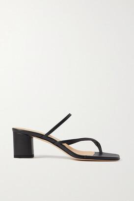 AEYDĒ Larissa Leather Mules - Black