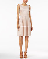 Tommy Hilfiger Faux-Suede Perforated Fit & Flare Dress