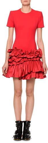 Alexander McQueen Short-Sleeve Drop-Waist Dress with Tiered Taffeta Peplum Hem