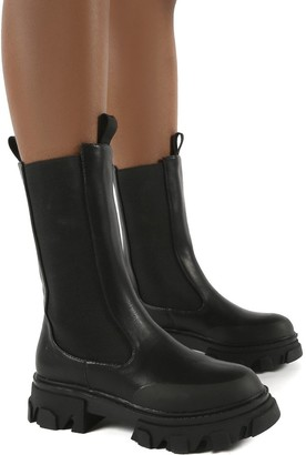 Public Desire Uk Boston Wide Fit Calf High Chunky Sole Boots