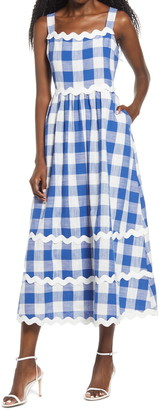 ENGLISH FACTORY Rickrack Trim Gingham Midi Dress