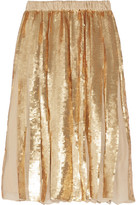 Tibi éclair Pleated Sequined Silk-georgette Skirt - Gold