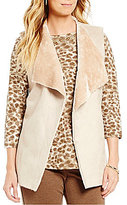 Ruby Rd. Faux-Suede Faux-Shearling Open Front Vest