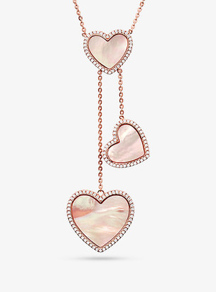 Michael Kors 14K Rose Gold-Plated Sterling Silver Pave Heart Necklace