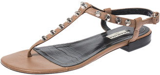 Balenciaga Tan/Black Leather Studded T Strap Flat Sandals Size 38.5