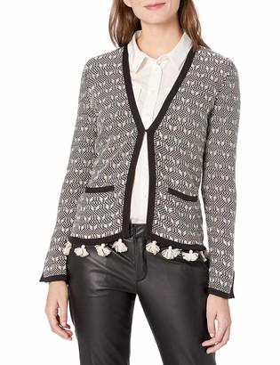 Nanette Lepore Women's L/s Textured Tasle Trimj Sweater Jacket