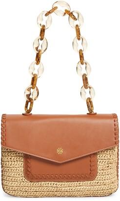 PAMELA MUNSON Las Olas Leather Trim Shoulder Bag