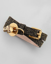 Alexander McQueen Glitter Double-Wrap Bracelet, Black/Gold