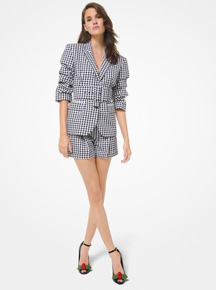 Michael Kors Collection Gingham Cotton Push-Up Sleeve Blazer