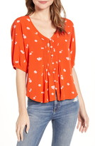 Lucky Brand V-Neck Pintuck Top