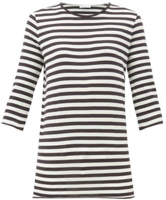 Raey Half-sleeve Striped Cotton-jersey T-shirt - Navy Stripe