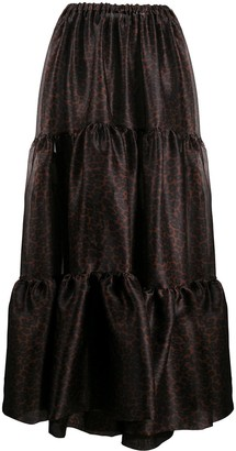 Simonetta Ravizza Animal-Print Tiered Maxi Skirt