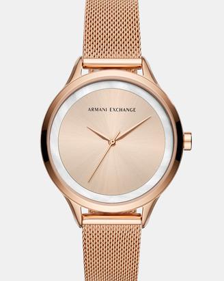 Armani Exchange Rose Gold-Tone Women's Analogue Watch