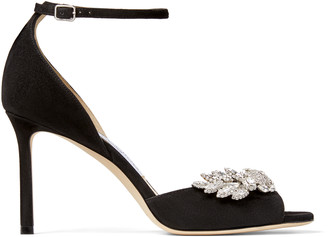 Jimmy Choo TRIS 85 Black Suede Sandals with Crystal Wings