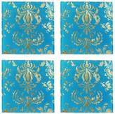 Jay Import Teal/Gold Fleur de Lis Coaster - Set of 4