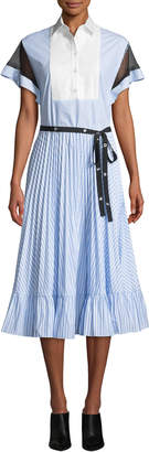 RED Valentino Short-Sleeve Striped Poplin Oxford Point D'Esprit Midi Dress