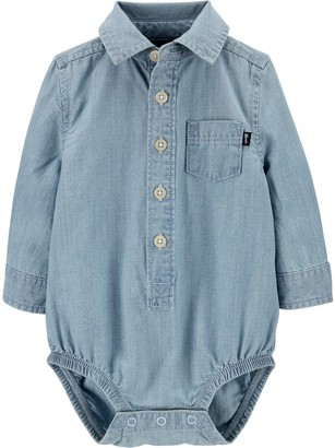 Osh Kosh Baby Boy Chambray Button-Front Pocket Bodysuit