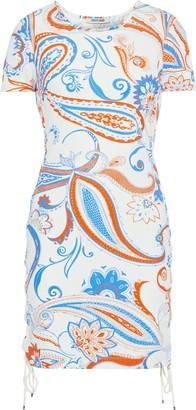 Roberto Cavalli Lace-up Printed Stretch-jersey Mini Dress