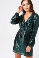 Outrageous Fortune Sequin Mock Wrap Mini Dress