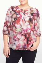 NYDJ Renaissance Flora Print 3/4 Sleeve Blouse In Plus