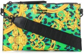 Versace baroque-print branded clutch bag