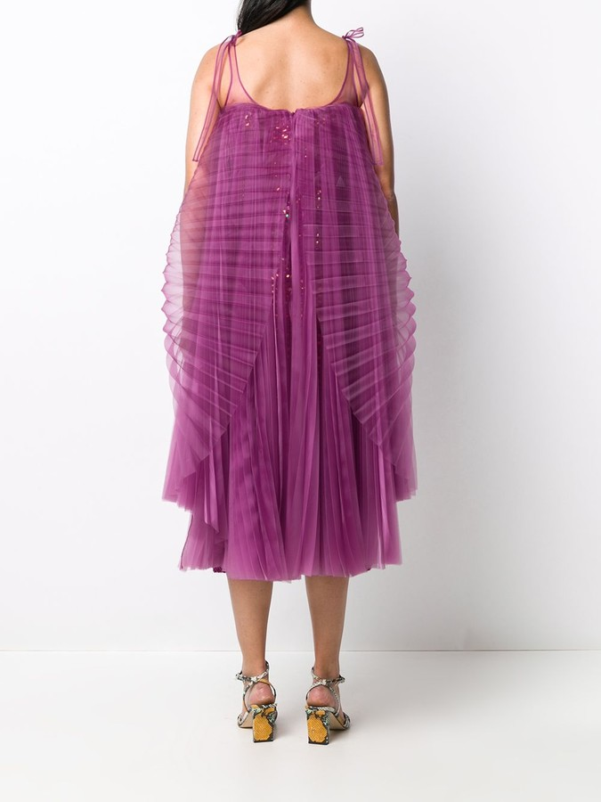 Thumbnail for your product : Marco De Vincenzo Pleated-Overlay Crochet Midi Dress