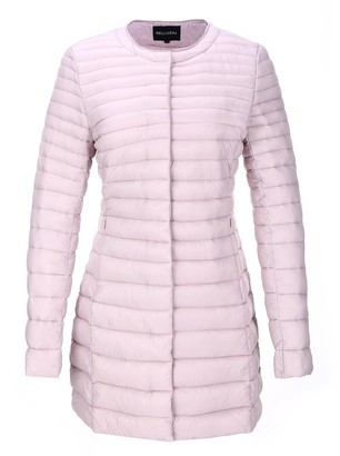 Bellivera Women's Quilted Lightweight Padding Jacket Puffer Coat Cotton Filling with 2 Pockets Pink Medium