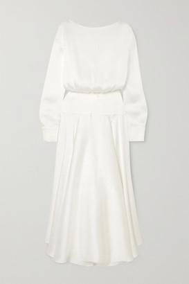 Galvan Majorelle Plisse-satin Midi Dress - White