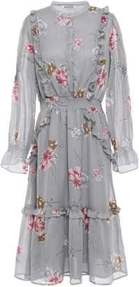Walter Baker Grayce Metallic Floral-print Georgette Midi Dress