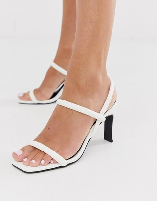 Barely There Co Wren square toe heels in white