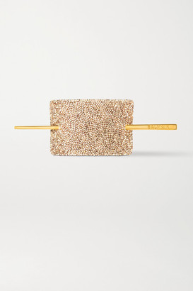 Balmain Paris Hair Couture Gold-plated, Crystal And Leather Hair Pin - one size