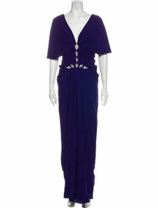 J. Mendel Plunge Neckline Long Dress Purple
