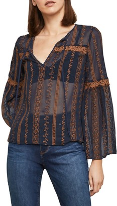 BCBGMAXAZRIA Embroidered Sheer Bell-Sleeve Top