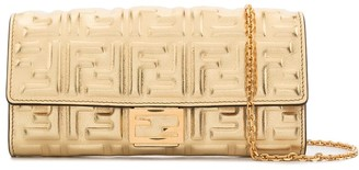 Fendi FF embossed metallic crossbody wallet bag